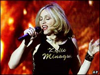 Madonna with a Kylie Minogue T-shirt