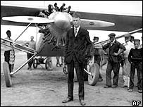 Charles A Lindbergh in front of The Spirit of St Louis in New York, May 1927, before his historic solo flight to Paris