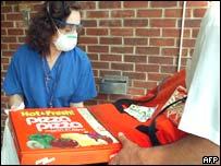 Health worker in mask in quarantine in Toronto, Canada