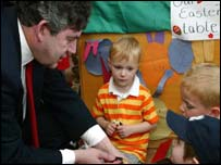 Chancellor Gordon Brown and nursery kids