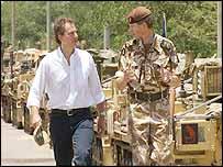 Tony Blair and Brigadier Adrian Bradshaw