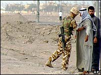 British soldier at entrance to Basra