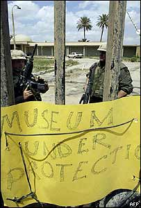 US soldiers guard the archaeological museum in central Baghdad