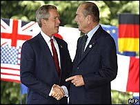 George W Bush (left) and Jacques Chirac