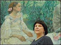Senior official at Russian Museum Isabella Muravyova in front of painting