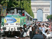 Train on Champs-Elysees in Paris