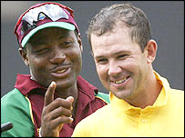 West Indies captain Brian Lara shares a joke with Australia skipper Ricky Ponting