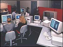 Workers at computers