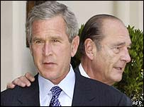 Bush and Chirac at the G8 summit in France in June