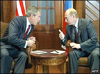 US President George W Bush and Russian President Vladimir Putin discussed Iran's nuclear plans in St Petersburg