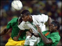 Joseph Yobo in action against Mali at the 2002 Nations Cup