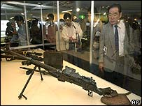 North Korean weapons exhibited at the Maritime Science museum in Tokyo