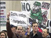 A protest outside the Cuban embassy in Madrid, Spain on 12 April