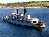 HMS Nottingham on rocks