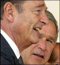 Presidents Jacques Chirac and George W Bush