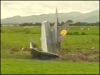 The jet was embedded in a field on the Borth side of the estuary