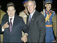 Egyptian President Hosni Mubarak welcomes US counterpart George W Bush to Sharm el-Sheikh