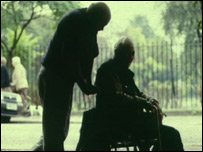 Carer and disabled man