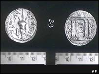 Either side of the Petra Drachma coin