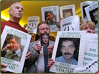 Protesters at Sir John Stevens' press conference on his report into allegations of collusion between Special Branch, Army officers and Protestant terrorists