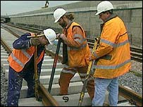 Maintenance workers on track