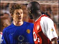 Ole Gunnar Solskjaer and Sol Campbell confront each other