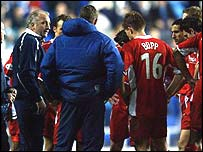 Nottingham Forest manager Paul Hart raises his players' spirits