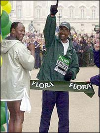 Michael Watson completes the London Marathon