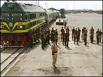 British soldiers by train in Umm Qasr