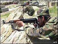 Afghan national army recruits training