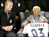 England captain David Beckham with former South Africa president Nelson Mandela