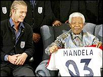 England captain David Beckham with former South Africa president Nelson Mandela