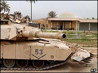 A US army tank guards the Iraqi National Museum in Baghdad