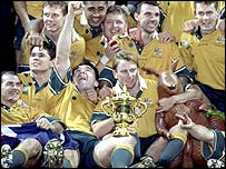 The Wallabies celebrate their win back in 1999