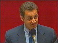 French interior minister Nicolas Sarkozy