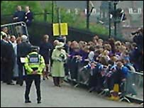Queen greets children