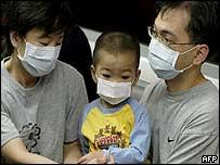 Hong Kong family wearing protective face masks