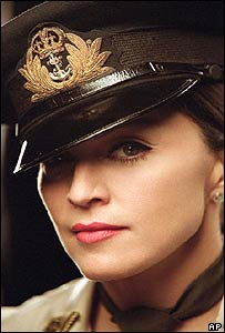Madonna dressed in a military uniform