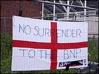 An England banner outside the Walkers Stadium
