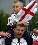 England fans at the Walkers Stadium