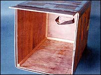 Crate where defendant allegedly hid