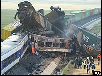 Wrecked trains