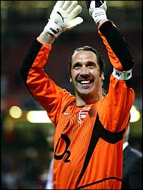 David Seaman applauds the fans