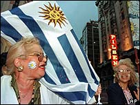 Uruguayans celebrating after the 1999 election
