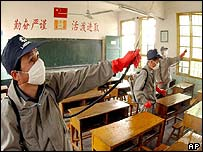 Workers disinfecting classroom in Fuzhou, eastern China