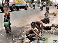 Children seek out water sources in Andhra Pradesh
