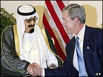 Saudi Crown Prince Abdullah (left) meets President Bush at Arab summit in Sharm el-Sheikh, Egypt