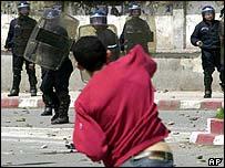 Berber protester stones police in Tizi Ouzou
