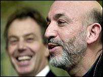Tony Blair and Hamid Karzai (right)