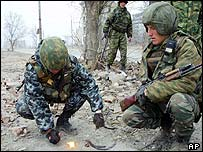 Russian patrol in Grozny this week